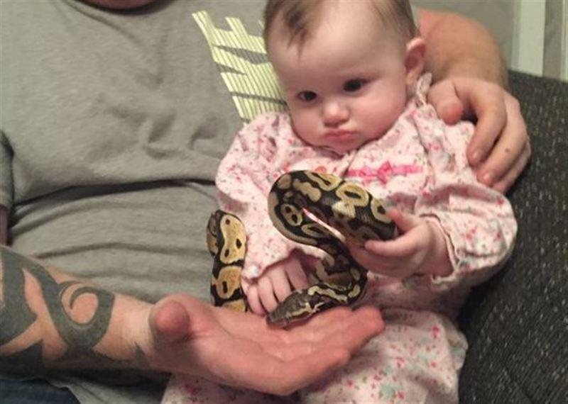 ШОК: Отец подарил восьмимесячной дочери «скоромного» питона