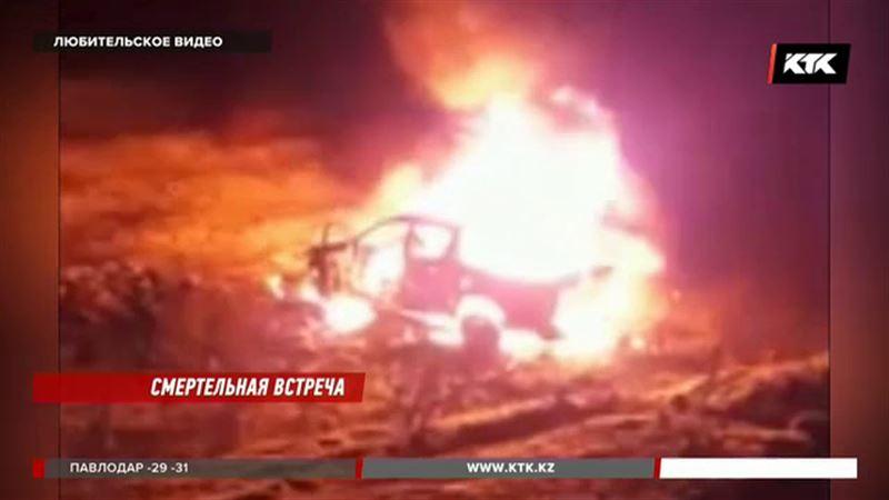 Внедорожник на трассе в ЗКО сгорел дотла
