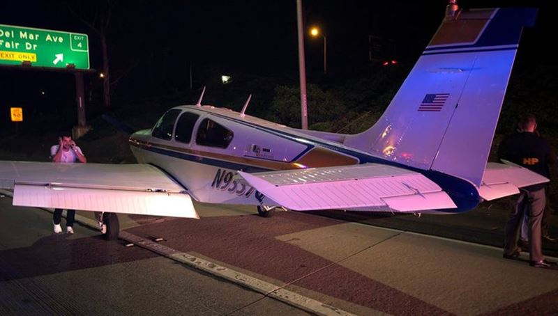 Экстренная посадка самолета на оживленную автотрассу в США попала на видео