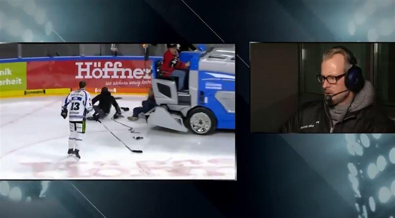 ВИДЕО: Хоккеиста в прямом эфире едва не сбил ледовый комбайн