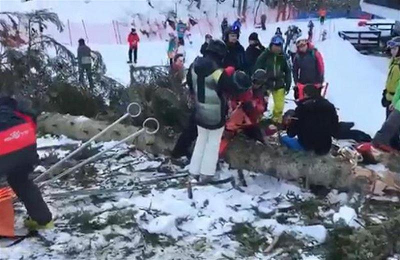 Дерево упало на горнолыжную трассу и придавило девушку