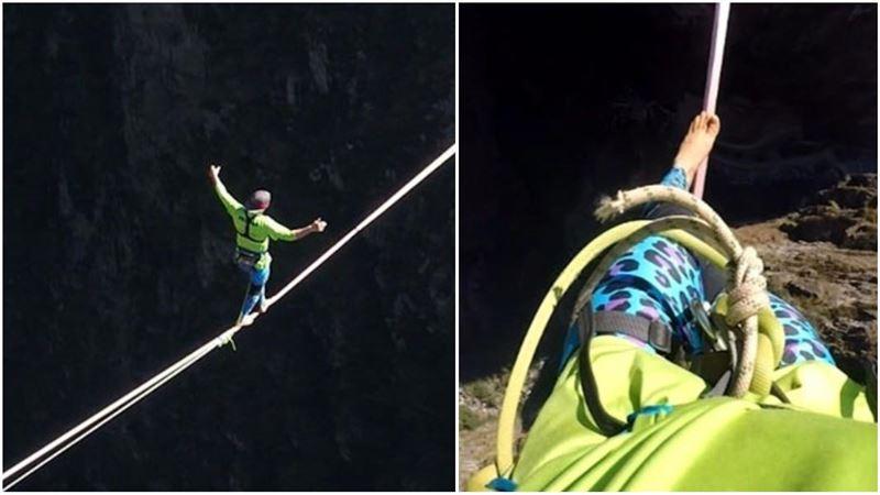 Экстремал прошел над пропастью с закрытыми глазами и установил мировой рекорд