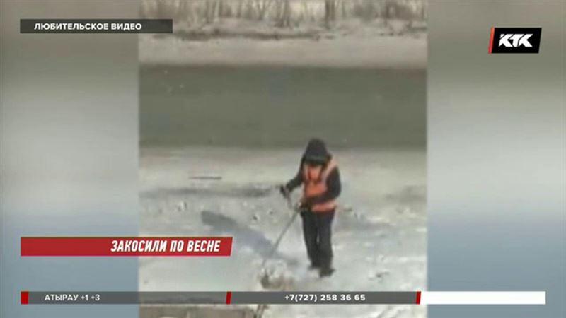 В Петропавловске косят снег