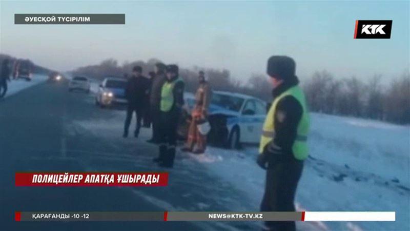 Батыста қызметтік көлік мінген полицейлер жол апатына ұшырады
