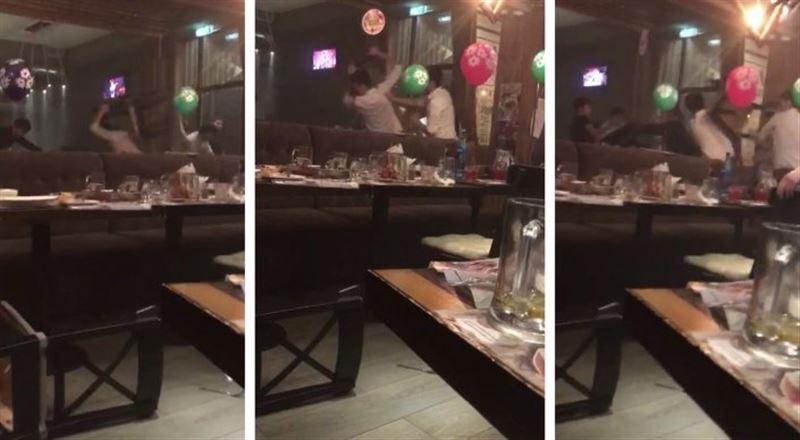 ВИДЕО: Алматыдағы барлардың бірінде жаппай төбелес болды