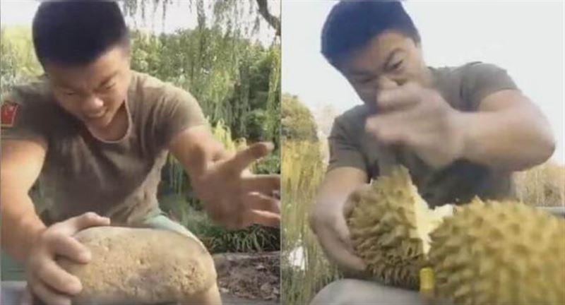 ВИДЕО: Каратеші жұмыр тастарды жалаң қолымен қақ бөледі