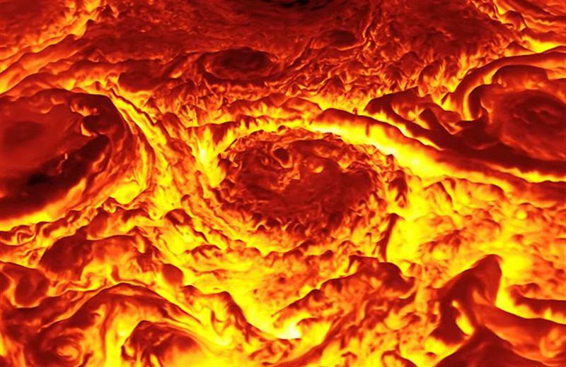 NASA показали фантастические кадры Северного полюса Юпитера