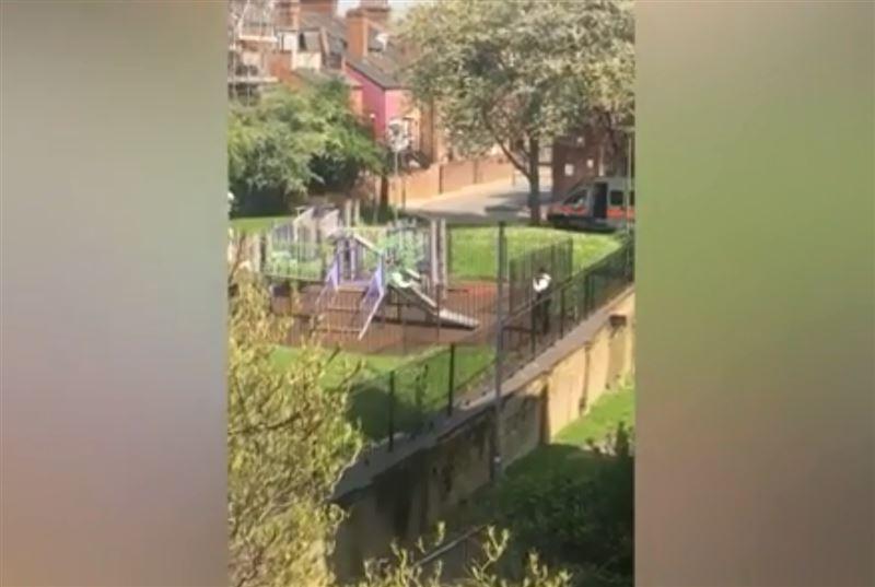 На видео попали полицейские, катавшиеся с горки