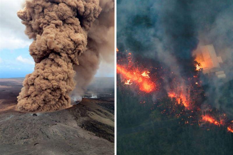 Лава извергающегося на Гавайях вулкана Килауэа уничтожила пять домов