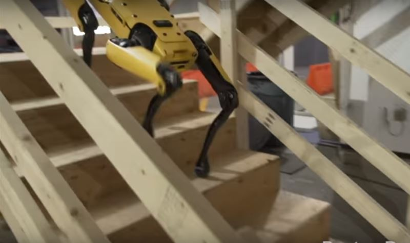 Робособаку научили спускаться по лестнице