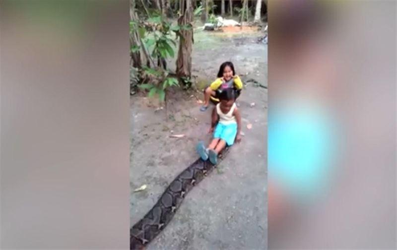 Куда смотрят родители: Девочки прокатились на спине гигантского питона