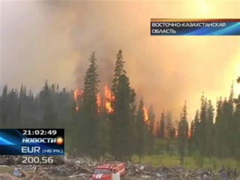 Крупный пожар в Восточном Казахстане