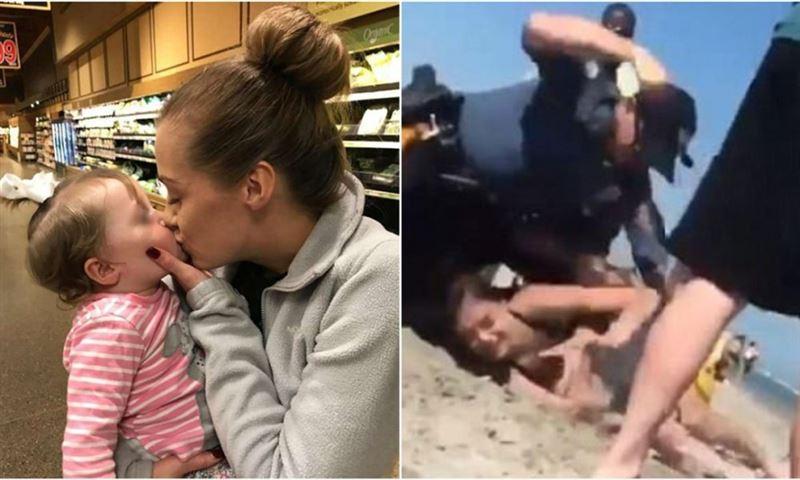 Полицейский избил девушку на глазах у её дочери