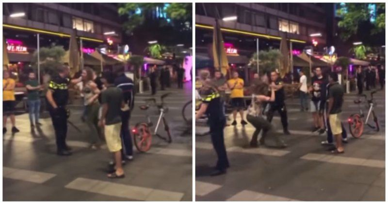 ВИДЕО: Полиция қызметкеріне шабуыл жасаған әйел сол сәтте жазасын алды