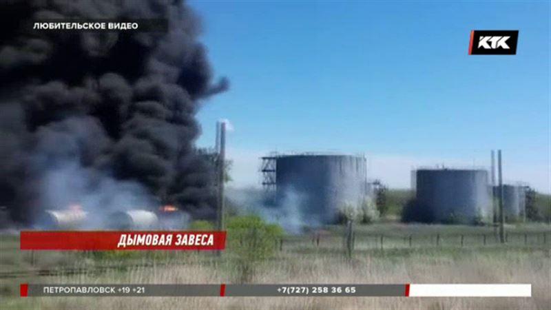 Жителей Карагандинской области перепугал пожар на нефтебазе