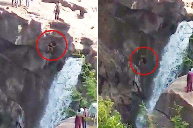 Мужчина хотел освежиться под водопадом, и разбился с огромной высоты