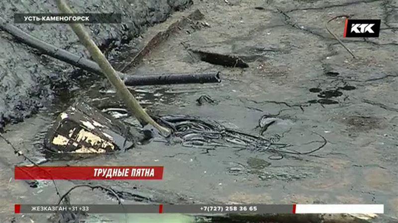 Огромные маслянистые пятна вызывают тревогу у жителей Усть-Каменогорска