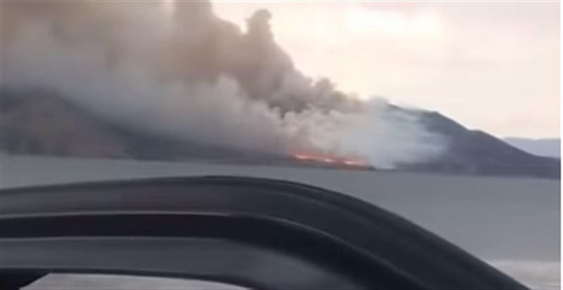 На побережье Бухтарминского водохранилища вспыхнул крупный пожар