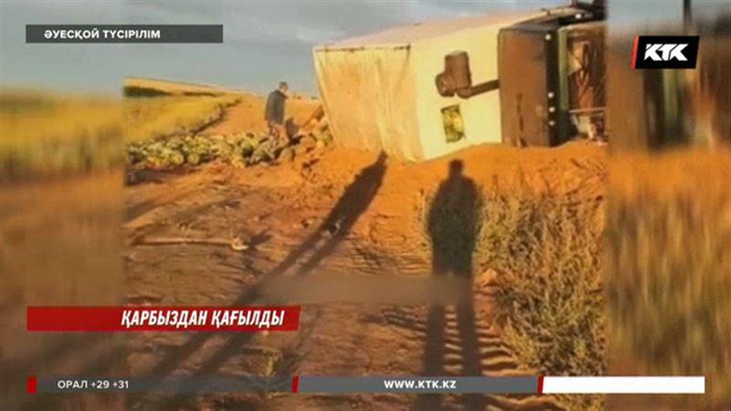 Павлодар облысында қарбыз тиелген «КамАЗ» аударылды