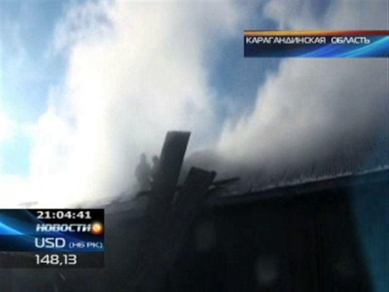 Крупный пожар в Карагандинской области